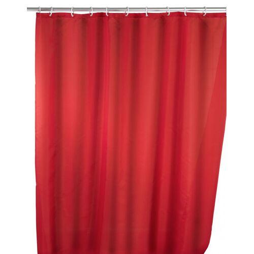 WENKO Anti-Schimmel Duschvorhang Uni Red, 180 x 200 cm, waschbar