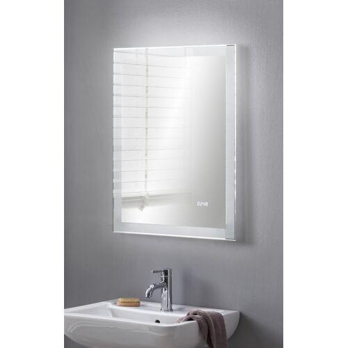 BadeDu SHINY LED Spiegel mit LED Uhr 80 x 60 cm