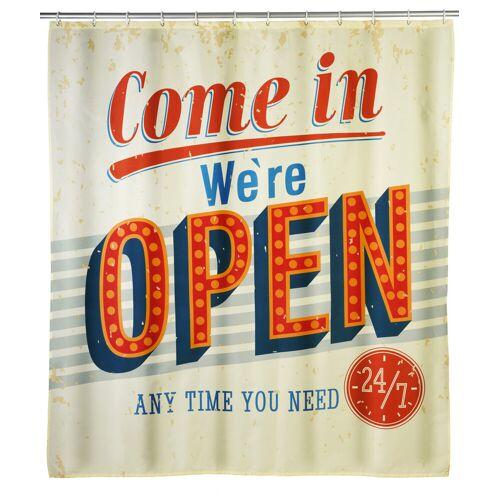 WENKO Anti-Schimmel Duschvorhang Vintage Open, 180 x 200 cm, waschbar