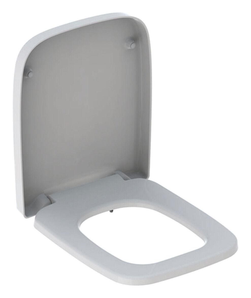Geberit RENOVA PLAN WC-Sitz mit Absenkautomatik, eckiges Design, Weiß