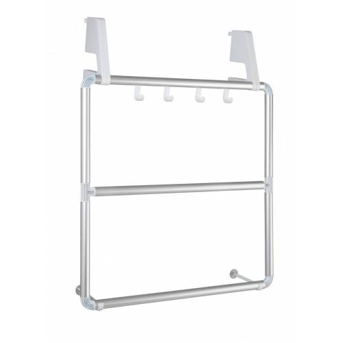 WENKO Handtuchhalter für Tür und Duschkabine Compact, mit 3 Querstangen
