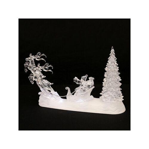 Sigro LED Szene Santa mit Rentierschlitten + Baum Sigro Weiß