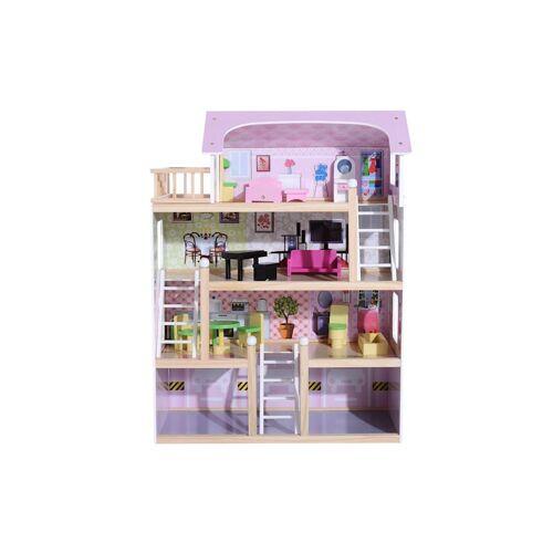 HOMCOM Kinder Puppenhaus mit Möbeln HOMCOM rosa