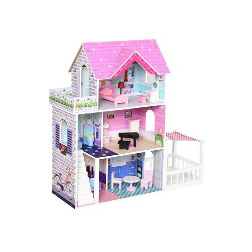 HOMCOM Puppenhaus mit 3 Etagen HOMCOM rosa
