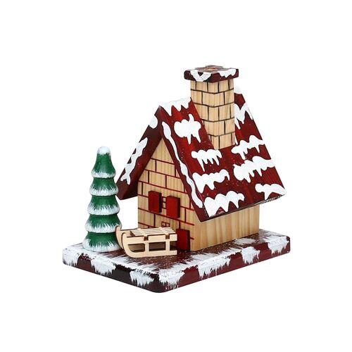Sigro Holz Räucherhaus mit Schlitten und Schnee Sigro Bunt