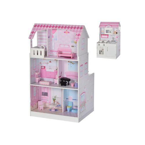 HOMCOM Puppenhaus und Spielküche HOMCOM rosa