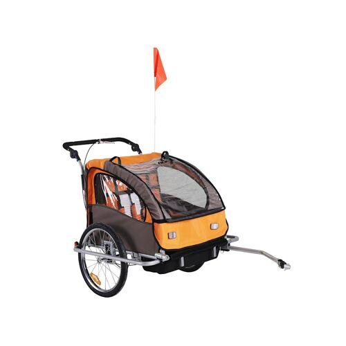 HOMCOM Kinderanhänger 2 in 1 – Fahrradanhänger und Jogger HOMCOM orange