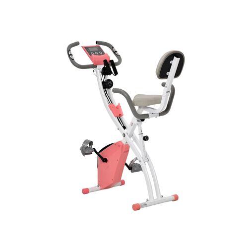 HOMCOM Fahrradtrainer mit LCD Display HOMCOM rosa, weiß