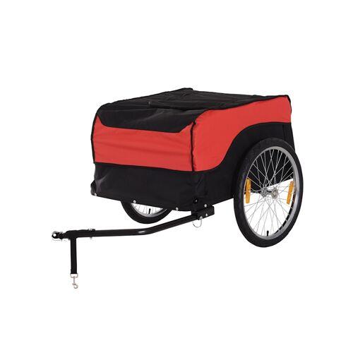 HOMCOM Transportanhänger fürs Fahrrad HOMCOM rot, schwarz