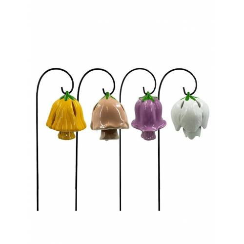HTI-Living Glockenblume mit Metallglocke, 4 Stück auf Metallstab HTI-Living Bunt