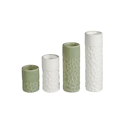 HTI-Living Teelichthalter Porzellan 4er Set HTI-Living grün/weiß
