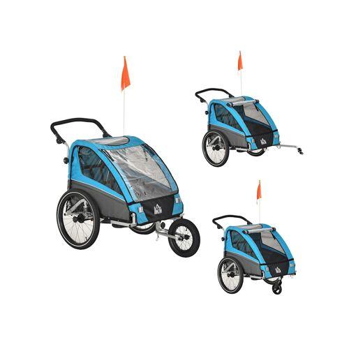 HOMCOM 3in1 Kinderwagen auch als Jogger und Fahrradanhänger HOMCOM blau