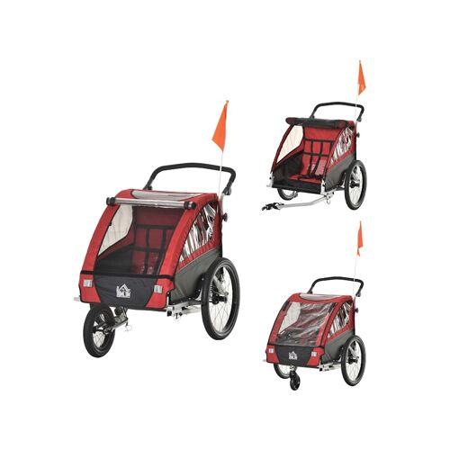 HOMCOM 3in1 Kinderwagen auch als Jogger und Fahrradanhänger HOMCOM rot
