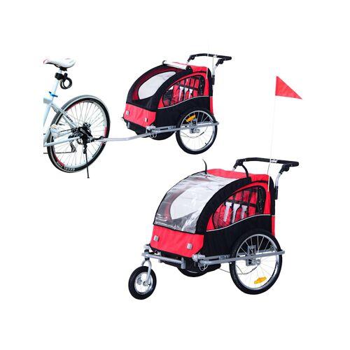 HOMCOM Kinderanhänger 2 in 1 – Fahrradanhänger und Jogger HOMCOM rot-schwarz