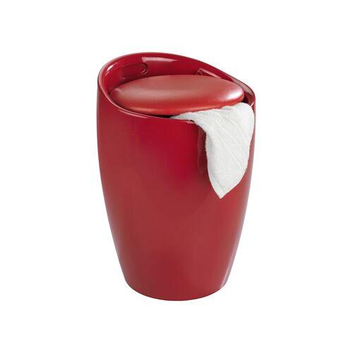 Wenko Hocker Candy Red, mit Wäschesack, Badhocker, mit abnehmbarem Wäschesammler Wenko Rot, Wäschesack: Schwarz