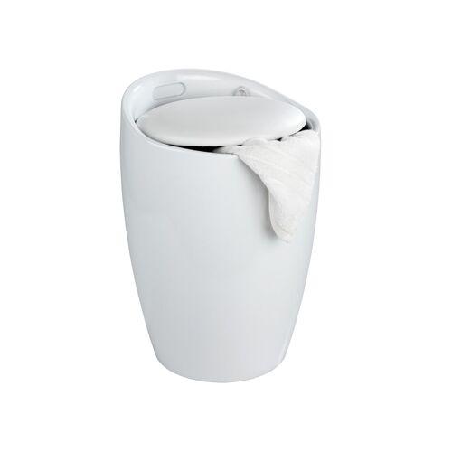 Wenko Hocker Candy White, mit Wäschesack, Badhocker, mit abnehmbarem Wäschesammler Wenko Weiß, Wäschesack: Schwarz