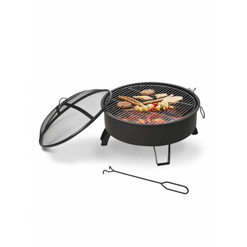 Outsunny 2-in-1 Feuerschale mit Grillrost Outsunny schwarz