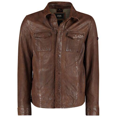 DNR Jackets Lederjacke mit Brusttaschen und Umlegekragen DNR Jackets Coffee Brown