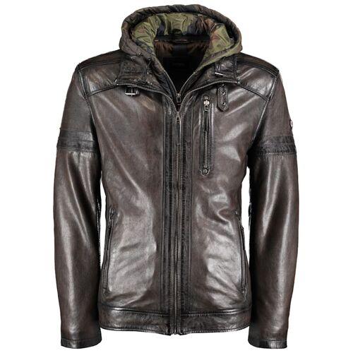 DNR Jackets Herren Lederjacke mit Kapuze und praktischen Taschen DNR Jackets olive