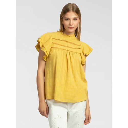 Apart Bluse mit kurzen Volants-Ärmeln APART gelb