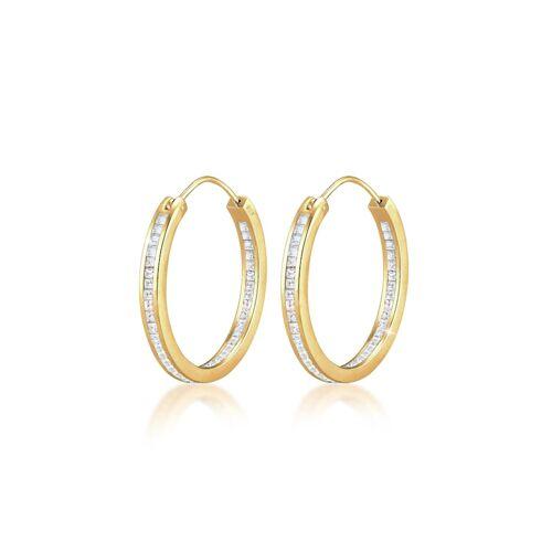 Elli Premium Ohrringe Creolen Kristalle Rund 925 Silber Elli Premium Gold