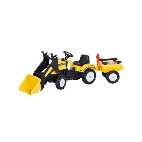 HOMCOM Traktor mit Fontlader und Anhänger HOMCOM schwarz,gelb