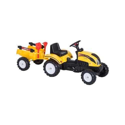 HOMCOM Kinder Trettraktor mit Anhänger HOMCOM gelb
