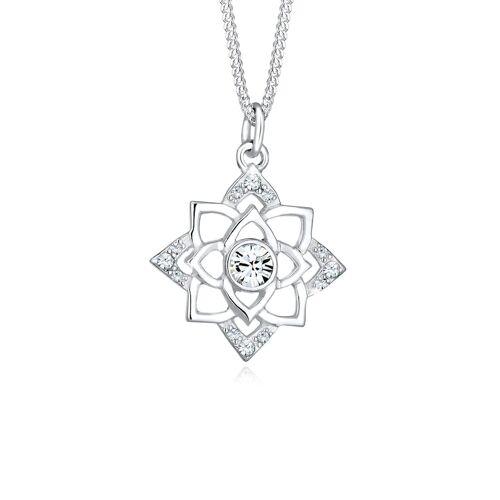 Elli Halskette Geburtsstein Lotus Kristalle 925 Silber Elli Weiß