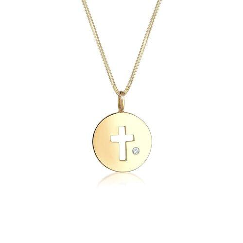 Elli Halskette Kreuz Münze Kristalle 925 Silber Elli Gold