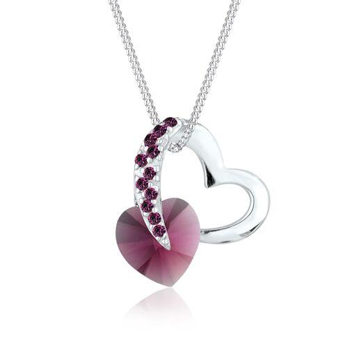 Elli Halskette Herz Love Rosa Kristalle 925 Silber Elli Violett