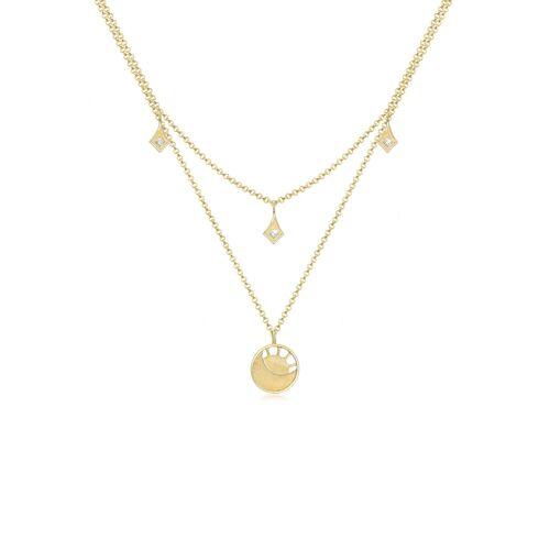 Elli Halskette Sonne Astro Mond Kristalle 925 Silber Elli Gold