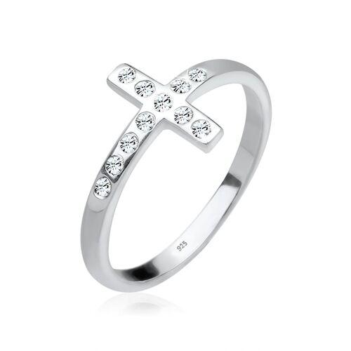Elli Ring Blogger Kreuz Kristalle 925 Silber Elli Weiß