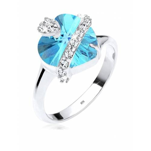 Elli Ring Herz Kristalle 925 Sterling Silber Elli Hellblau