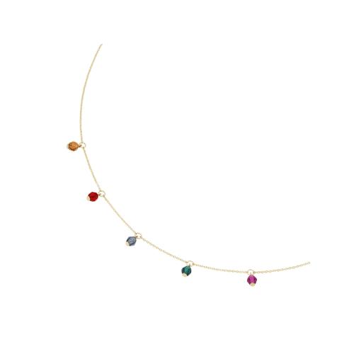 Luigi Merano Collier mit farbigen Kristallsteinkugeln, Gold 375 Luigi Merano Gold