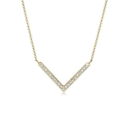 Elli Halskette V-Kette Kristalle 925 Silber Elli Gold