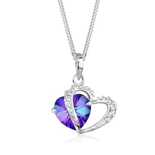 Elli Halskette Herz Symbol Kristalle 925 Silber Elli Violett