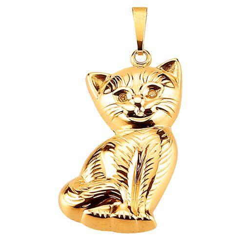 KLiNGEL Katzen-Anhänger mit Diamant KLiNGEL Gelbgoldfarben