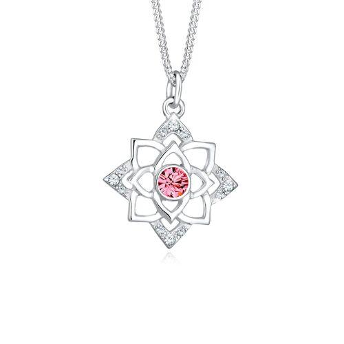 Elli Halskette Geburtsstein Lotus Kristalle 925 Silber Elli Pink