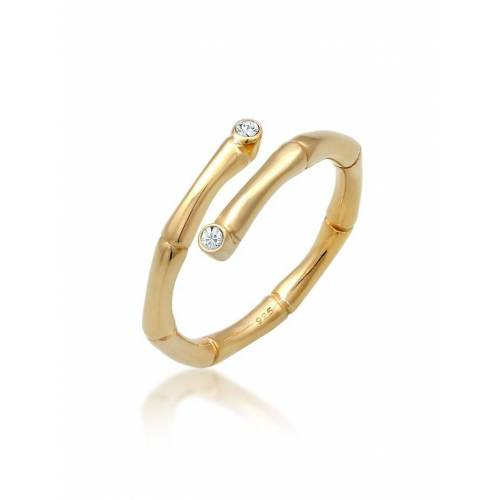 Elli Ring Wickelring Bambus Kristalle 925 Silber Elli Gold