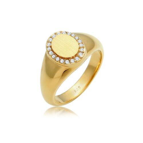 Elli Premium Ring Siegelring Edel Kristalle 925 Silber Elli Premium Gold