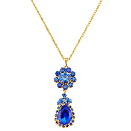 Golden Style Anhänger mit blauen Kristallen und Kette Golden Style Blau