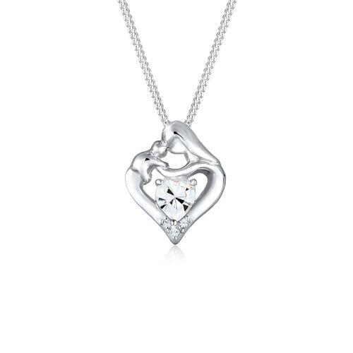 Elli Halskette Herz Mutter Kind Kristalle Silber Elli Silber