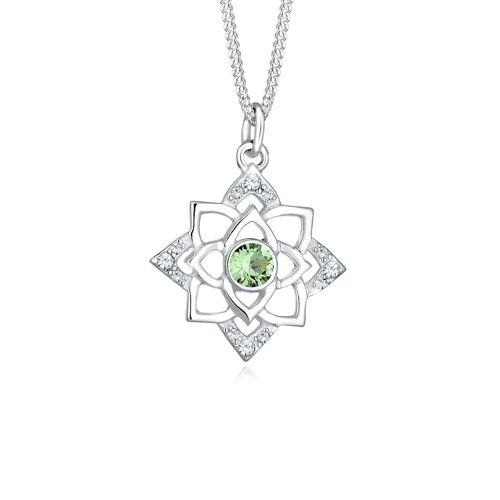 Elli Halskette Geburtsstein Lotus Kristalle 925 Silber Elli Hellgrün