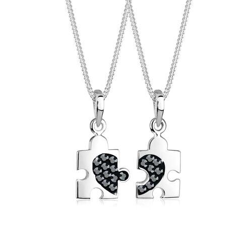 Elli Halskette Set Partner Puzzle Kristalle 925 Silber Elli Schwarz