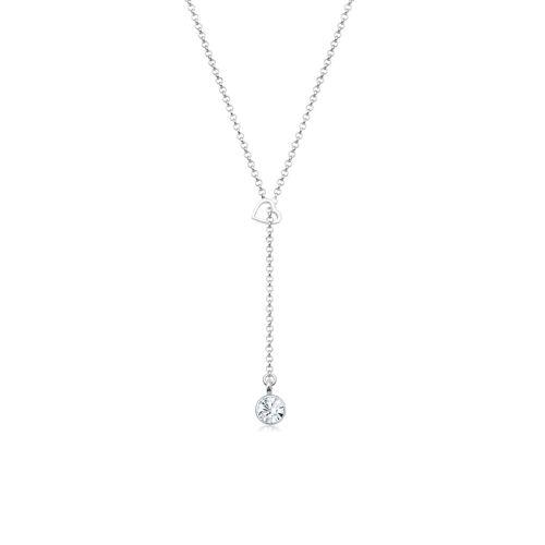 Elli Halskette Herz Y-Kette Kristalle 925 Silber Elli Silber