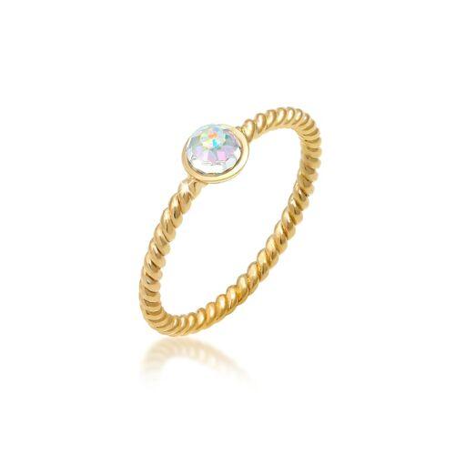 Elli Ring Solitär Rainbow Kristalle 925 Silber Elli Gold