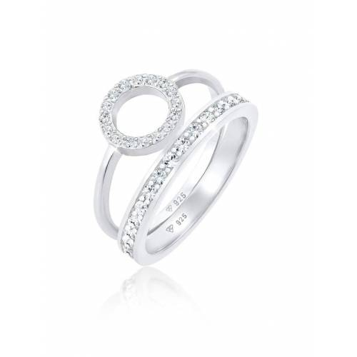 Elli Premium Ring Memorie Kreis Geo Kristalle 2Er Set 925 Silber Elli Premium Silber