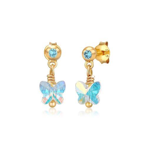 Elli Ohrringe Kinder Schmetterling Kristalle Silber Elli Blau