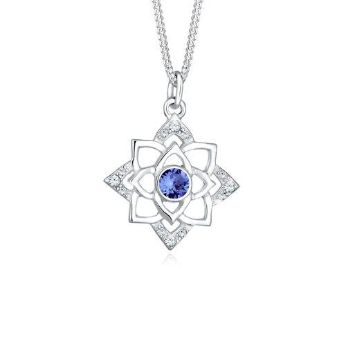 Elli Halskette Geburtsstein Lotus Kristalle 925 Silber Elli Blau