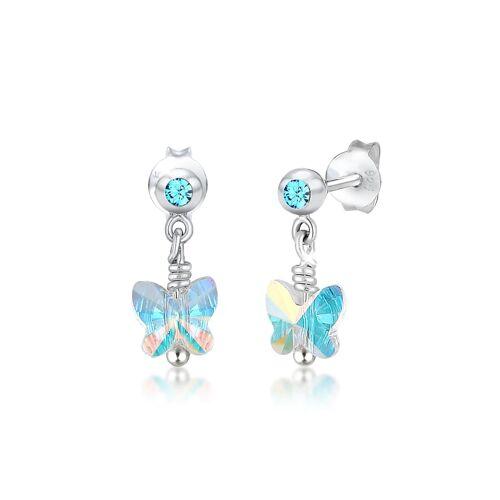 Elli Ohrringe Kinder Schmetterling Kristalle Silber Elli Hellblau